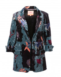 Clover Black and Blue Floral Velvet Blazer