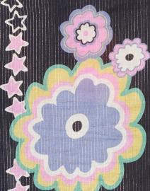 Vilagallo - Tilda Navy Floral Printed Lurex Cotton Blouse