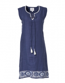Navy Medallion Tassel Embroidered Dress