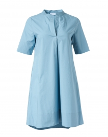 Blue Stretch Cotton Henley Dress
