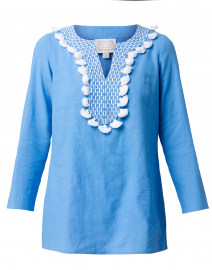 Marina Blue Tunic Top with White Tassels