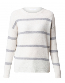 White and Grey Striped Cashmere Sweater