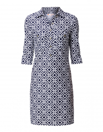 Sloane Navy Geometric Printed Henley Dress