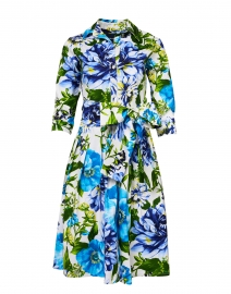 Samantha Sung - Audrey Los Cabos White and Blue Floral Stretch Cotton Dress
