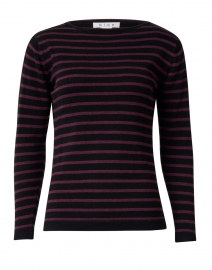 Black and Bordeaux Striped Pima Cotton Sweater