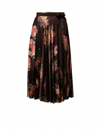 Brown Floral Printed Pleated Wrap Skirt