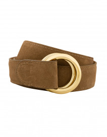 Cocoa Suede Belt with Double Gold Rings