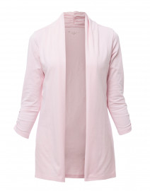 Pale Pink Ruched Sleeve Cotton Cardigan