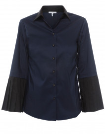 Carmen Navy Stretch Cotton Button Down Shirt