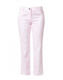 Pink Animal Printed Stretch Cotton Five Pocket Crop Jean