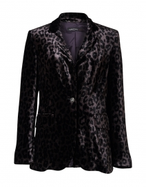 Purple and Black Animal Printed Velvet Blazer