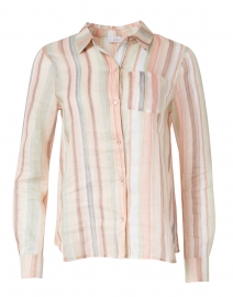 Streep Watercolor Stripe Printed Linen Shirt