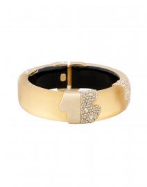 Gold Lucite Crystal Encrusted Hinge Bracelet