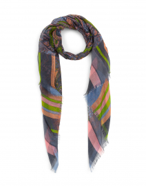 Orange and Green Paisley Silk Cashmere Scarf