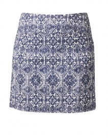 Navy and White Mosaic Print Control Stretch Pull-On Skort