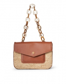 Las Olas Brown Leather and Natural Raffia Shoulder Bag