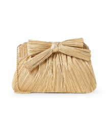 Rayne Gold Pleated Lame Bow Clutch