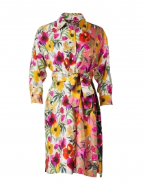 Ekatery Pink, White and Black Floral Silk Shirt Dress