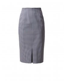 Vosephina Blue and Brown Mini Check Pencil Skirt