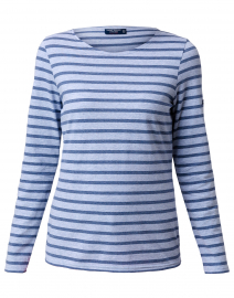 Minquidame Pale Blue and Voyage Blue Striped Cotton Top