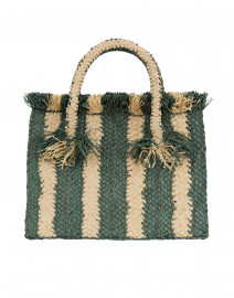 Georges Green and White Striped Raffia Small Tote