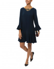 Navy Flounce Stretch Crepe Dress