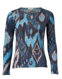 Blue and Navy Ikat Silk Cashmere Sweater