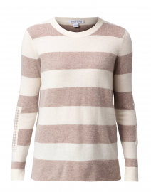 Beige and Ivory Striped Cashmere Sweater