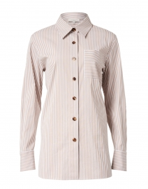 Lafayette 148 New York - Greyson Camel and White Striped Stretch Cotton Shirt
