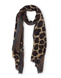 Brown Spotted Leopard Silk Cashmere Scarf