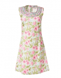 Paintflower Turquoise and Pink Floral Stretch Cotton Dress