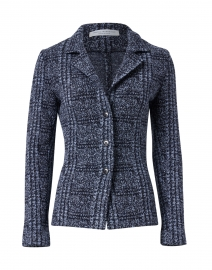 Door Navy and Blue Check Knit Jacket