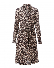 Ivory and Brown Leopard Printed Shirt Dress