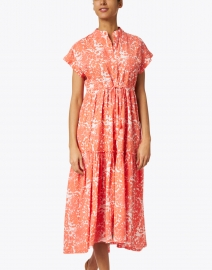 Ro's Garden - Mumi Coral and White Floral Print Cotton Dress
