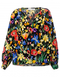 Charleston Multicolored Floral Silk Blouse