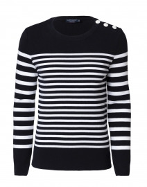 Carros Navy and White Striped Cotton Sweater