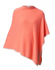 Coral and Beige Cashmere Poncho