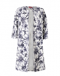 Terme White and Navy Floral Cotton Open Coat