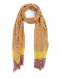 Gold Yellow and Brown Mosaic Wool Cashmere Scarf
