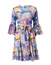 Pia Navy and Soft Pink Floral Silk Crepe Dress