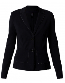 Navy Knit Blazer with Lurex Trim