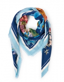 Nigella Blue and Pink Floral Wool and Cashmere Scarf