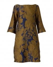 Lakka Navy and Gold Silk Jacquard Dress