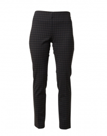 Black and Brown Checked Stretch Pull-On Pant