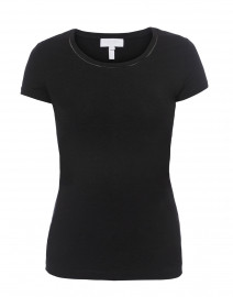 Ebasica Black Stretch Cotton Top with Open Trim