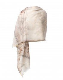 Angelic Beige Floral Cotton Scarf