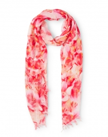 Red and Orange Flower Print Linen Scarf