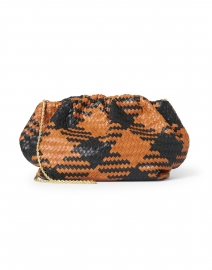 Nyla Black and Timber Check Woven Leather Clutch