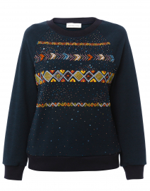 Jaya Navy Embroidered Sweatshirt