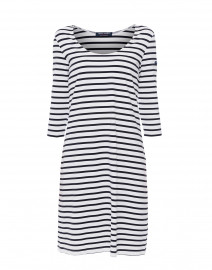 Angouleme White and Navy Striped Dress